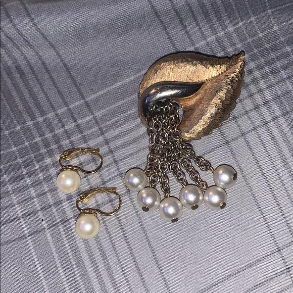 Hoop Earrings and Brooch
